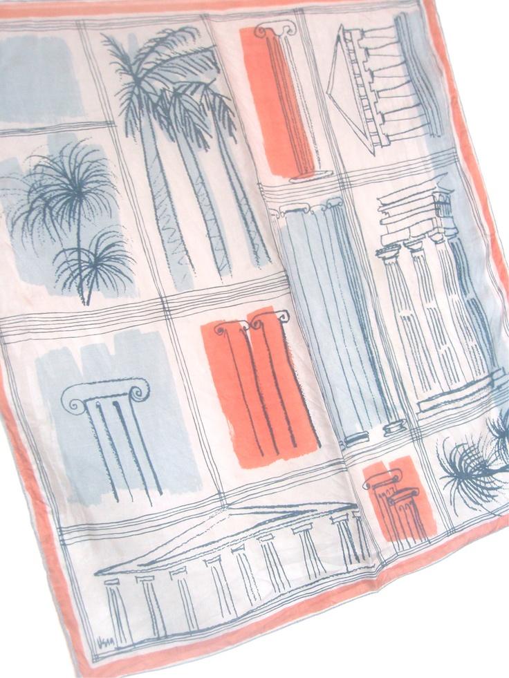 Athens Parthenon - a vintage 1940's Vera Neumann Parachute Silk Scarf.