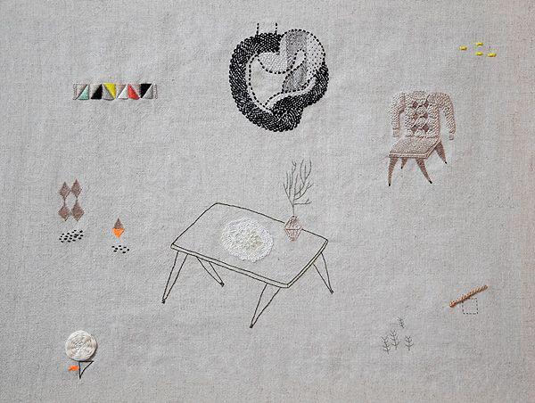 Knittings Landscape. Hand embroidered on linen. 36 cm x 46 cm.
