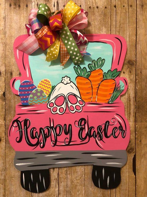 Easter Antique Truck Door Hanger with burlap bow