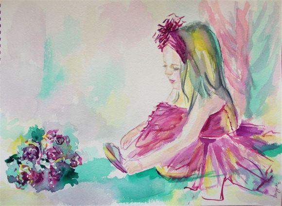 Little Ballerina 2-Original watercolor painting