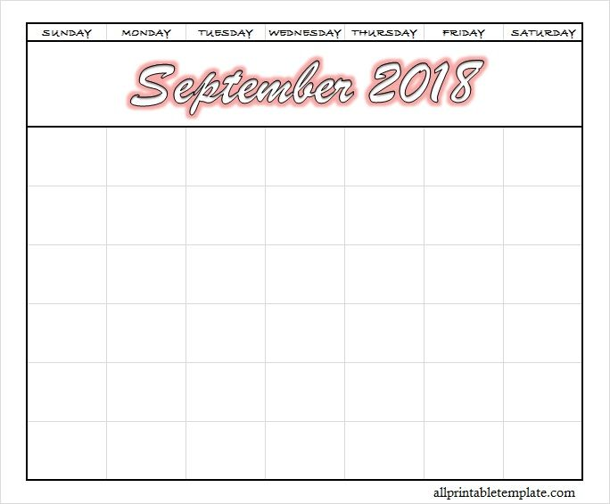Blank September 2018 Calendar Printable PDF Calendar for September