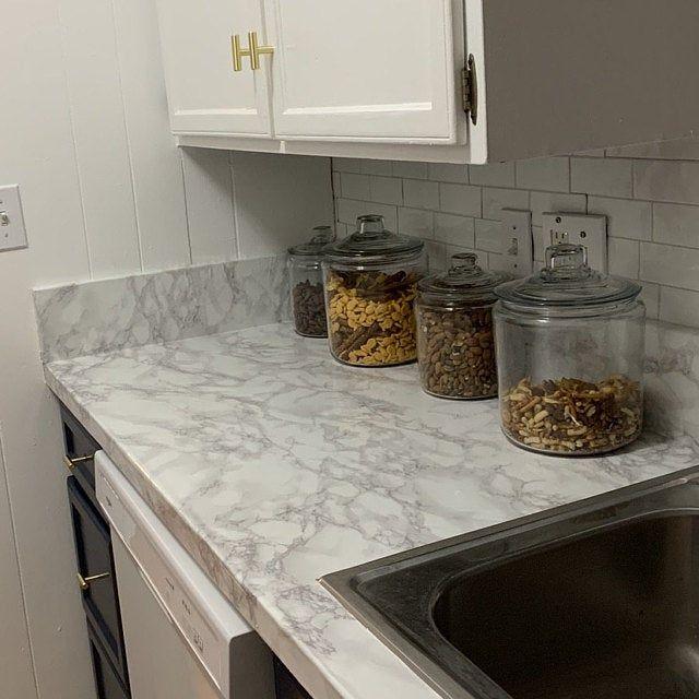 Update Countertop Self Adhesive White Marble Granite Film Not Grandma S Contact Paper Or Paint Thicker Wider Waterproof Durable Faux Granite Countertops Diy Countertops Countertop Makeover
