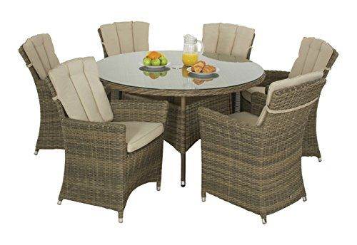 Maze Rattan Round 6 Seat Winchester Carver Chair Dining Set with 135 cm Table in a Weave with Matching Parasol - Natural Toned