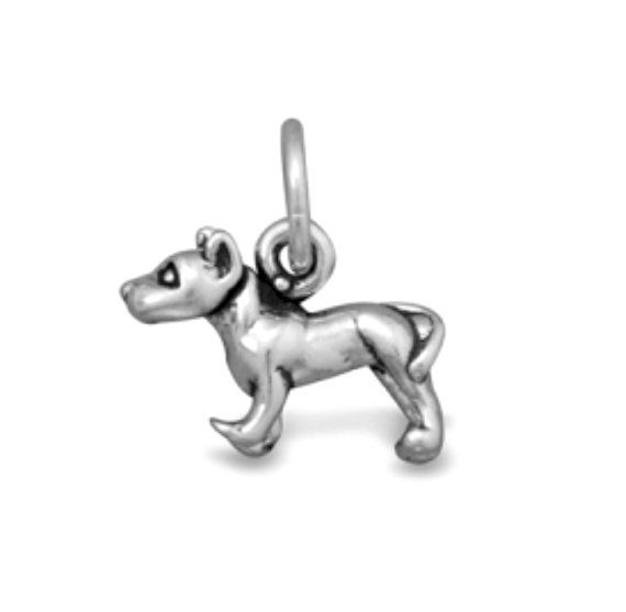 SALE Pit Bull Terrier Dog Charm Pendant Mini Sterling Silver Marked 20% off Regular Price