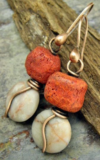 Naturally Red Coral Marble and Copper by ThePurpleLilyDesigns, $18.50