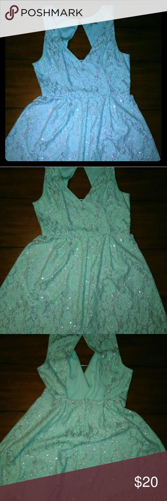 Girls night out dress Mint green and silver lace dress for a night on the town!! Charlotte Russe Dresses Mini