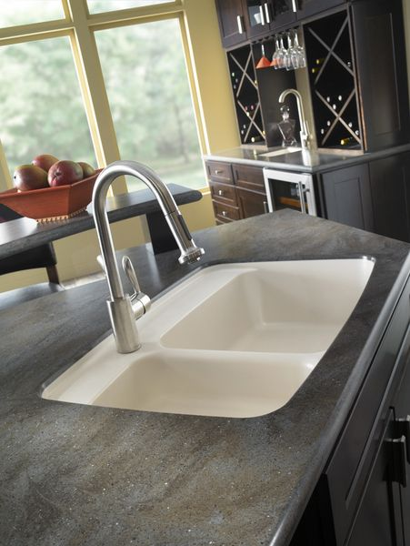 Corian lava rock countertop with sink lava rock is part for Quartz integrated sink