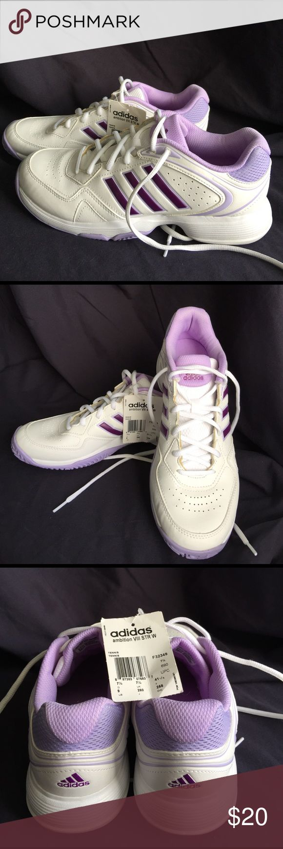 New, Adidas Ambition Vlll STR Tennis sneakers New, never worn, tennis sneakers. White w/ purple trim Adidas Shoes Athletic Shoes