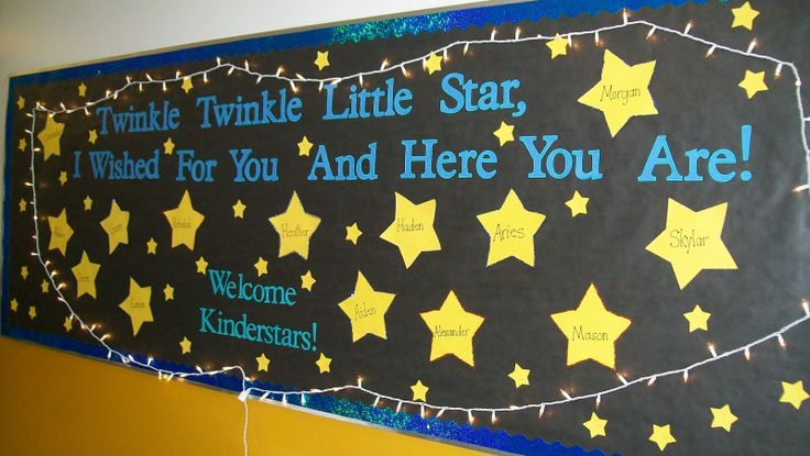Love this bulletin board - use for my K class!!: Schools Bulletin Boards, Back To Schools, Schools Ideas, Kindergarten Bulletin Boards, Twinkle Twinkle, Preschool Bulletin Boards, Classroom Ideas, Boards Ideas, Welcome To Kindergarten