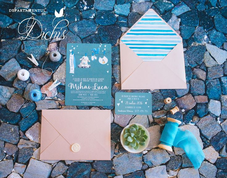 Baptism Day Invitation and RSVP card  Luca's custom made invitation and rsvp card with a beautiful nude envelope. The envelope has a custom printed interior and it's sealed with a white wax seal.