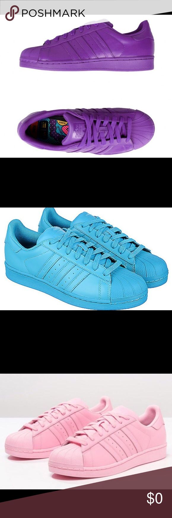 ISO...Pharrell Williams Superstar Supercolor's!!! Please Tag Me If You Find Any Of The Colors Above That Fit A Women's Size 7...Thank You...🙏😘 Adidas Superstar Supercolor Shoes Sneakers