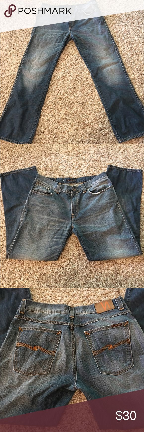 Men's Nudie Jeans Slim Jim Scraped Seaweed! 36x32 These jeans are in excellent condition! Nudie Jeans Jeans