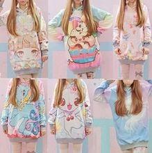 Nieuwe herfst vrouwen hoodies 2015 lolita schattige hete japan-professioneel-efficiënt-concurrerend studenten/jonge kawaii japans meisje harajuku stijl lange truien sweatshirt(China (Mainland))