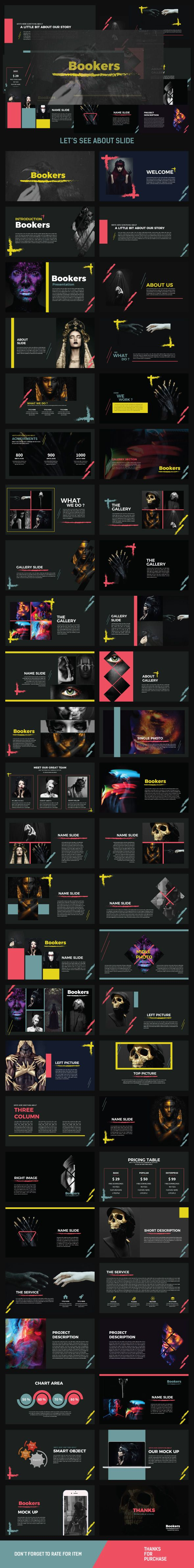 BOOKERS Power Point Multipurpose - Creative #PowerPoint #Templates Download here: https://graphicriver.net/item/bookers-power-point-multipurpose/19697670?ref=alena994