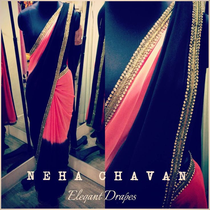 Do you feel draping a saree is a hassel? We will prove you wrong! Purchase this beautiful shaded georgette saree in peach pink and black with gold diamond border, easy to drape, light in weight and a jaw dropping look!! Team up this saree with our exclusive designer blouses made for you! Email us at fashion@nehachavan.com for more details or drop in your email id in the comment below and we will get back to you! We deliver worldwide! #NC #NehaChavan #clothing #custommade #fashion #fabulous…