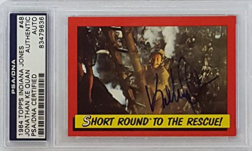 Jonathan Ke Quan Signed 1984 Topps Indiana Jones Card PSA/DNA 83479636 @ niftywarehouse.com #NiftyWarehouse #IndianaJones #GeorgeLucas #HarrisonFord #Movies