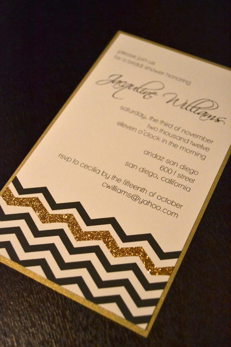 Black white and gold chevron invitation. $4.00, via Etsy.