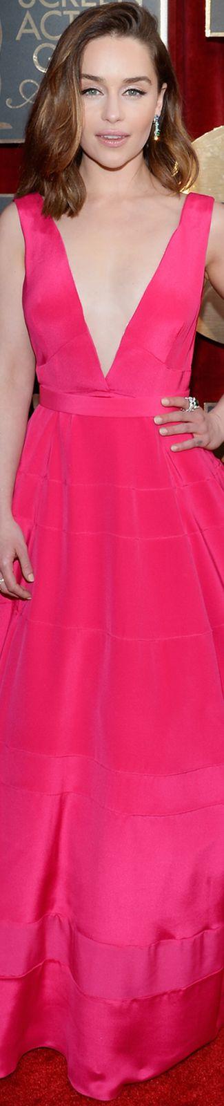 Emilia Clarke wearing Dior 2016 SAG Awards