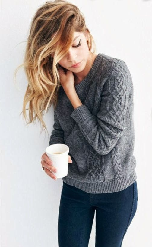 Comfy chic: Sweaters, Hair Colors, Fashion, Grey Sweater, Style, Cable Knit Sweater, Haircolor, Outfit