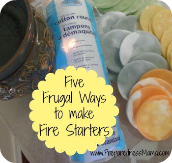 Five Frugal Ways to make DIY Fire Starters - 72 Hour Kits Be Prepared preparednessmama.com