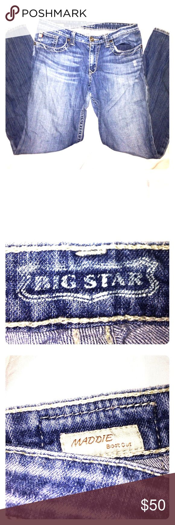 """BIG STAR MADDIE BOOT CUT JEANS BIG STAR MADDIE BOOTCUT JEANS. THESE WERE ORIGINALLY BOUGHT FOR $142 AT THE BUCKLE. These jeans are a """"BUCKLE EXCLUSIVE."""" The measurements are Waist: 16"""", Inseam 32"""", Rise 8"""". I can bundle these jeans with the other MADDIE FIT in my closet. If you have any questions please comment and I will respond ASAP. Also the tag on these jeans say '29 R'. Big Star Jeans Boot Cut"""