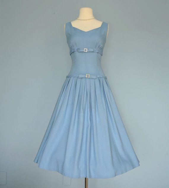 Hey, I found this really awesome Etsy listing at http://www.etsy.com/listing/157255204/vintage-1950s-party-dresschic-blue-linen