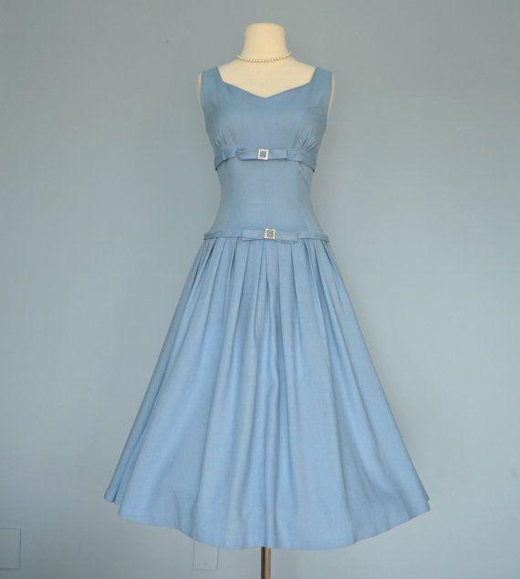 Vintage 1950s Party Dress...Chic Blue Linen Party Dress ...