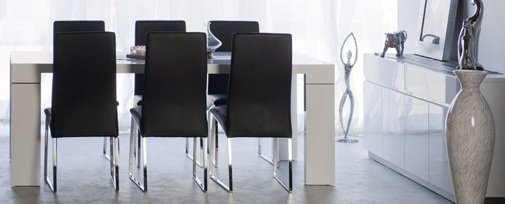 Miami Collection dining There are no floral shirts, gold chains and white shoes here... the stylish clean lines of the Miami collection are pure class. Finished in pristine gloss white lacquer and brushed stainless steel slimline highlights.