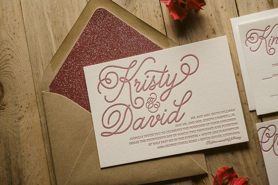 Glitter Whimsical Calligraphy Letterpress Wedding by JustInviteMe, $12.50