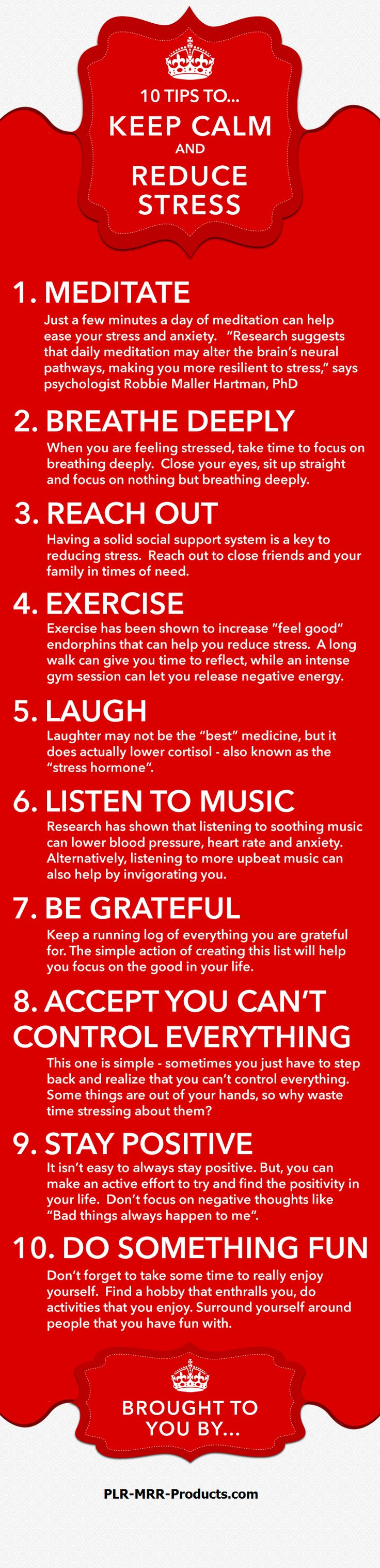 10 tips to stay calm and reduce stress