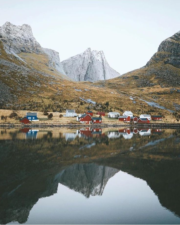 """""""Would you be able to live in a remote place like this❓⛰ Kirkefjord Lofoten Islands, Norway Photo by: @alexstrohl  Tag: #destination_wow"""""""