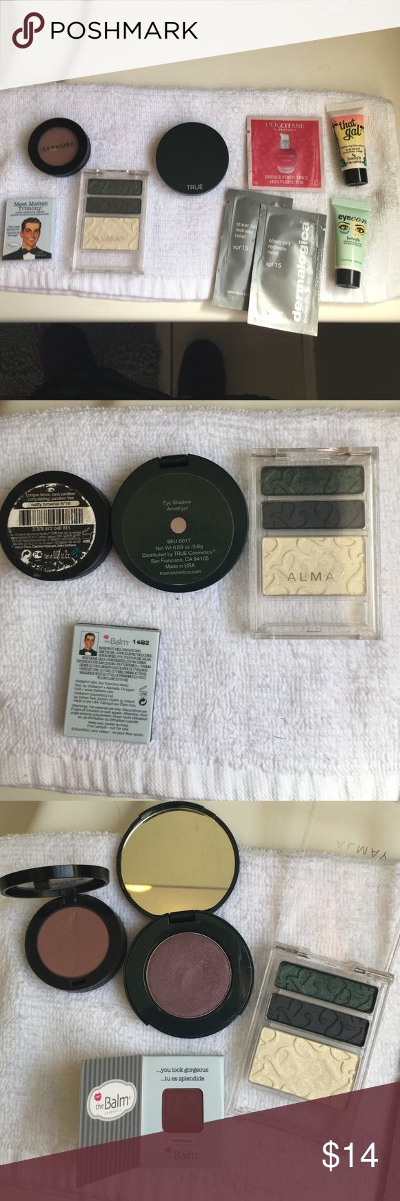 Mixed eyeshadows and benefit samples lot! Decided recently I can't pull of burgundy or Browns! Included in this lot is an Almay 033 trip for hazel eyes, lightly swatched (threw out applicator since they never work well), Sephora  eyeshadow in nutty brownie, used several times, unused eyeshadow sample from the Balm in Matt Kumar, large eyeshadow in amethyst from True Cosmetics, swatched several times. The samples are unused from l'occitane and dermalogica, and the benefit minis were probably…