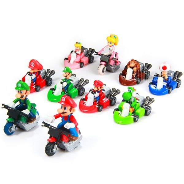 Super Mario Pull Back Car 10 PCS Action Figure Kids Toys Gift