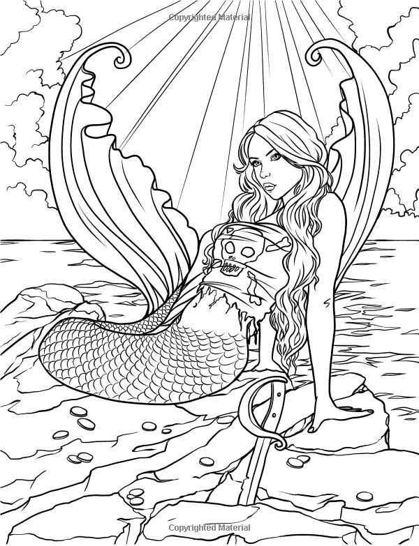 Mermaid myth mythical mystical legend mermaids siren for Mythical coloring pages for adults