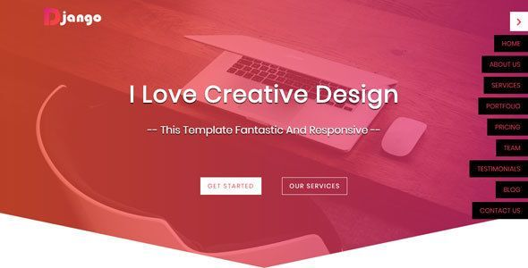 Django Is A Creative And Clean Responsive Template Creative Templateit Is Suitable For Your Personal Company Or Your Portfolioyou Can Customi Sitios Web Sitios