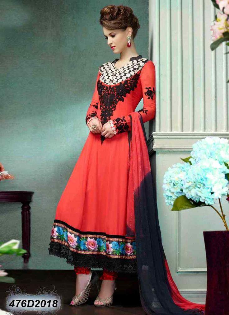 Designer Cherry Coloured Georgette Anarkali Salwar Suit