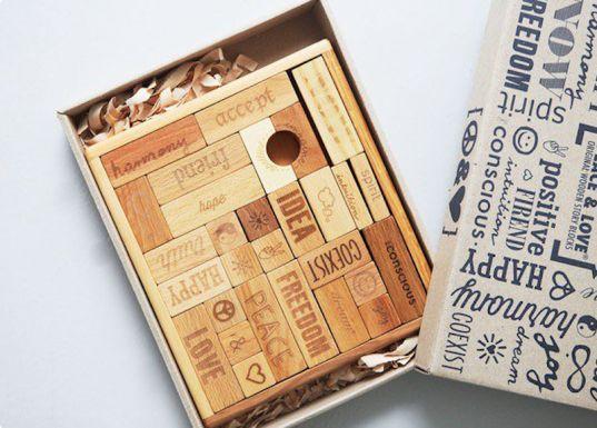 Wooden Story natural, handmade blocks bring peace and love to the playroom