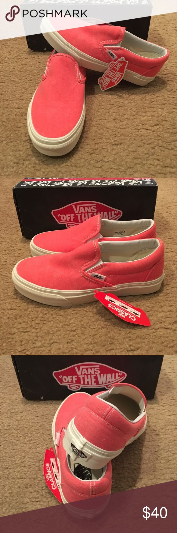 Vans Washed Classic Slip Ons New in box. Hot Coral Vans Shoes Sneakers