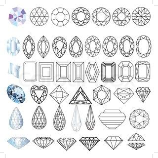 Cut precious gem stones set of forms stock vector