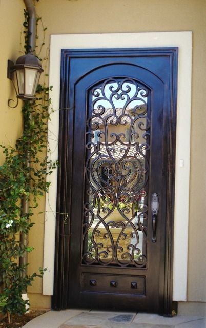 Wrought iron door. Getting one on my next house.-my aunt had one kinda like this and the pane of glass swung out so if someone knocked on the door you could answer it without opening the whole house up-loved that!