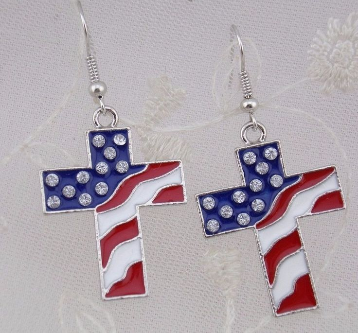Flag Cross Earrings Red White Blue Rhinestone Silver Fashion Jewelry NEW #Superstar #dropdangle