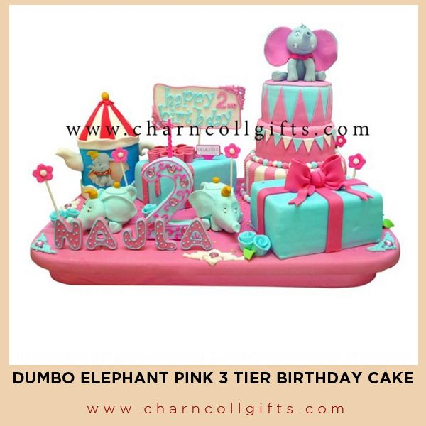 Dumbo Elephant Pink 3 Tiers Birthday Cake | Perfect theme for your children Birthday party | Order now : www.charncollgifts.com | +6221-7509476 / +6221-7197234 #Cake #Birthday #Party