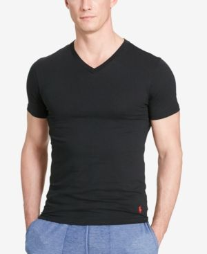 Polo Ralph Lauren Men's Cotton Stretch 2 Pack V- Neck Undershirt - Black XL