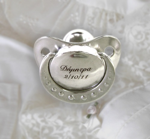 """""""Coat"""" your baby's first pacifier with shiny metals, copper, silver, silver-plated, gold-plated!  With the knowledge and special care of Shine4ever.gr"""