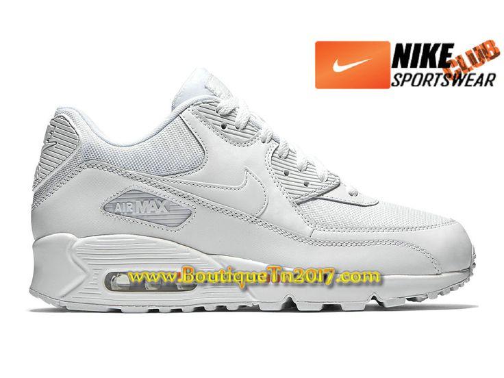 Nike Air Max 90 Essential PS Chaussures Nike Basket Pas Cher Pour Enfant Blanc 537384-111E