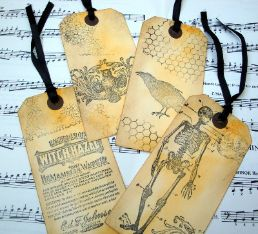 Halloween Vintage style large luggage label gift tags from Pirate Treasures.