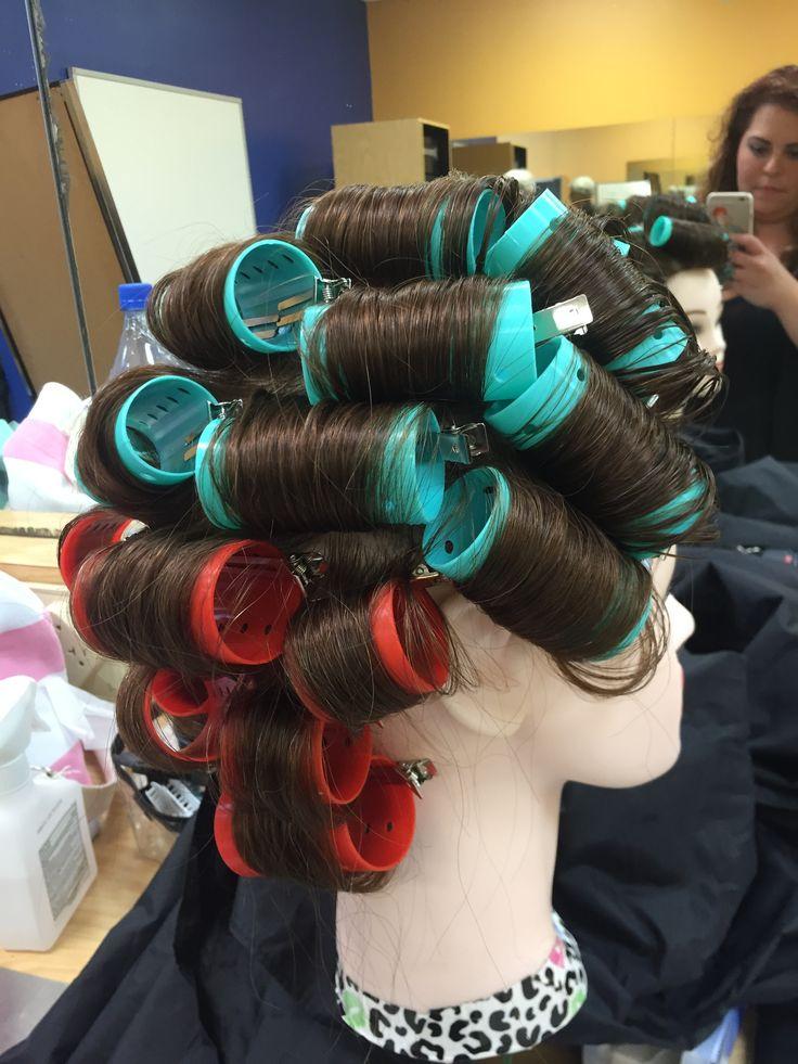 My first roller set, on base curls. My beauty school