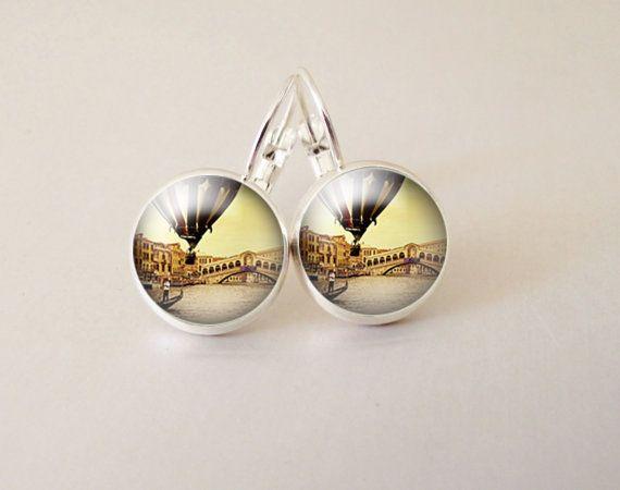Balloon art  glass cab earrings GCB30 by ArtiFartiGifts on Etsy