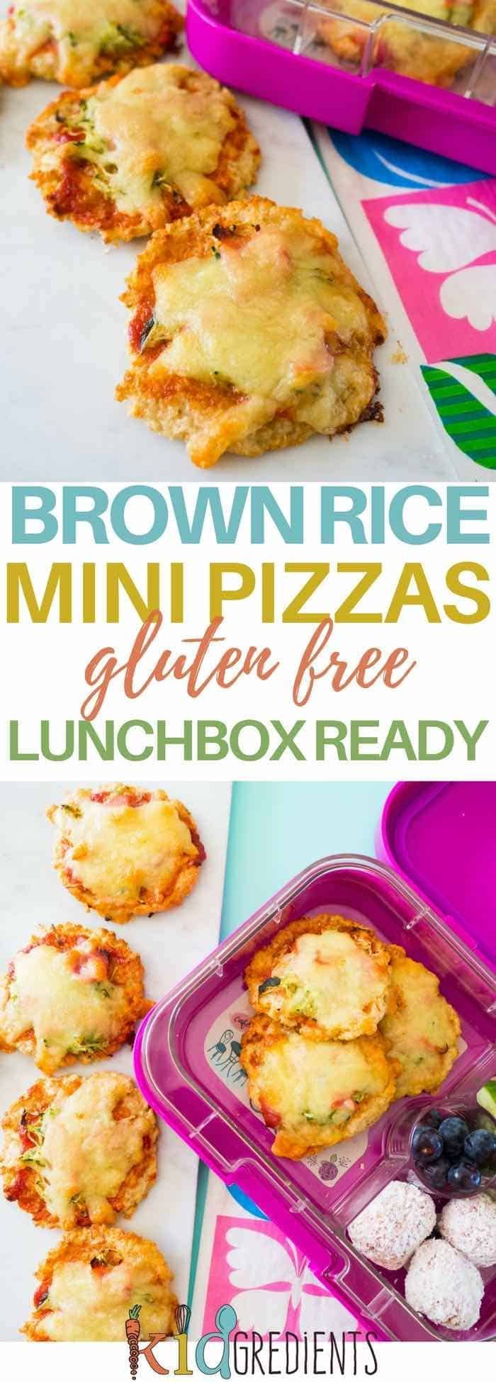Brown rice mini pizzas, gluten free, easy to make and freezer friendly. Super yummy and perfect for the lunchbox. #kidsfood #glutenfree #pizza #healthykidsfood via @kidgredients