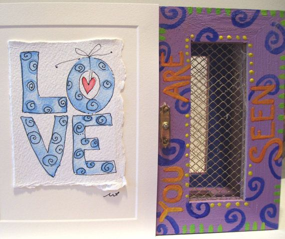 """Watercolor Card """"Love Is Here To Stay And Thats Enough"""" Handpainted With Envelope betrueoriginals"""